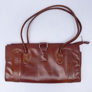 Handbags - Women's Envelope Satchel Bag Brown Faux Leather